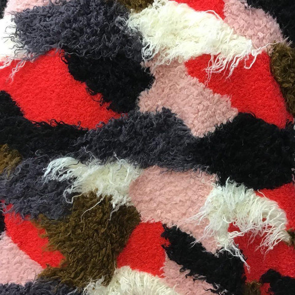 Dark Multicolor Patchwork Long Pile Faux Fur Fabric - Fashion Fabrics Los Angeles