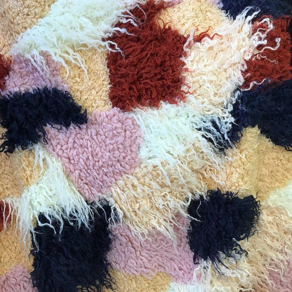 Light Multicolor Patchwork Long Pile Faux Fur Fabric - Fashion Fabrics Los Angeles