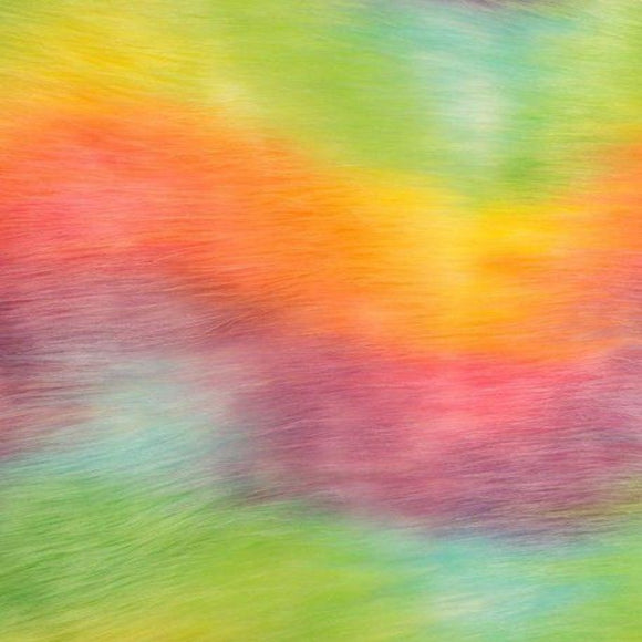 Sorbert Rainbow Waves Multicolor Faux Fur Fabric - Fashion Fabrics Los Angeles
