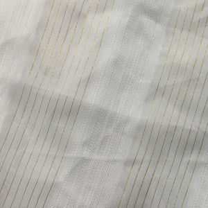 White Gold Mythical Stripe Sheer Drapery Home Decor Fabric - Fashion Fabrics Los Angeles