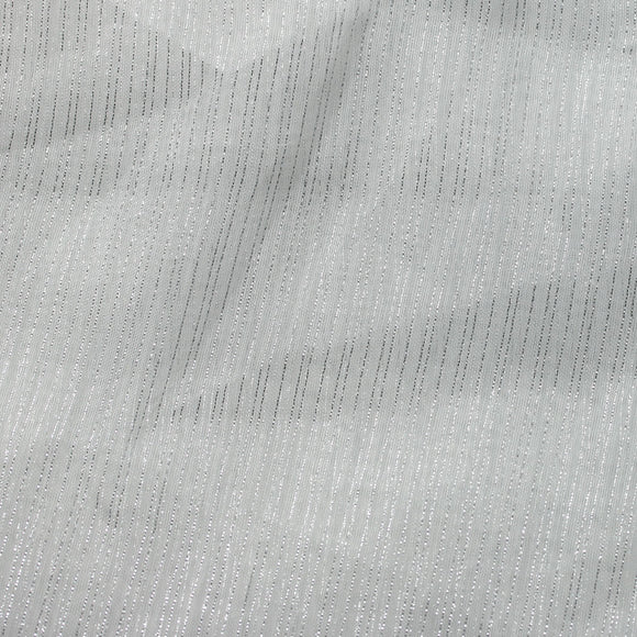 White Silver Three Shine Stripe Sheer Drapery Home Decor Fabric - Fashion Fabrics Los Angeles