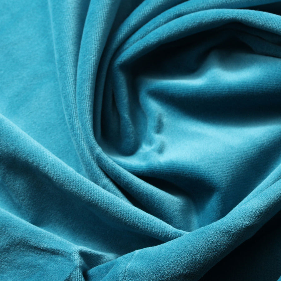 Turquoise Blue Cotton Velvet Upholstery Drapery Fabric - Fashion Fabrics Los Angeles