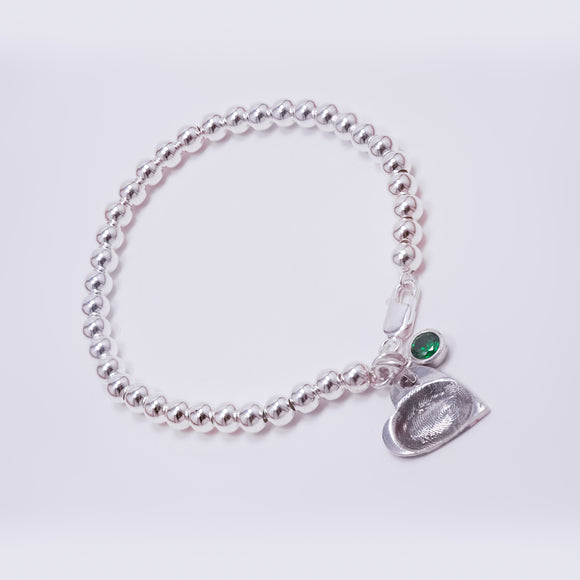 Stylish Ball Bracelet with Fingerprint Charm