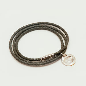 Funky Grey Leather Wrap Charm Bracelet with fingerprint charm