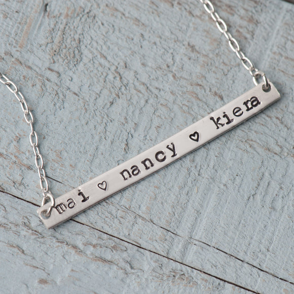 Name Bar Necklace for multiple names