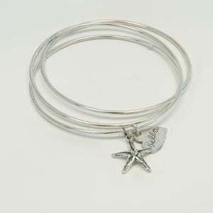 Russian Bangle Name Charm Bracelet
