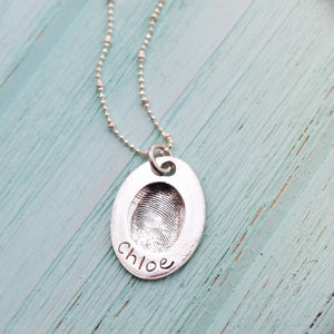 Oval Fingerprint Pendant