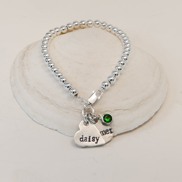 Contemporary Ball Bracelet with Name Charm