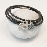 Funky Grey Leather Wrap Name Charm Bracelet