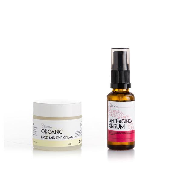 Organic Face & Eye Cream & Anti Aging Serum