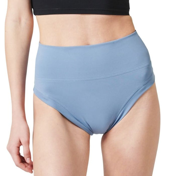 High Waist Cheeky Shirring Shorts - Airy Blue