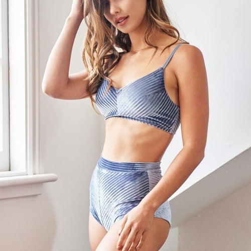 Lana High Waist Shorts in Silver Blue