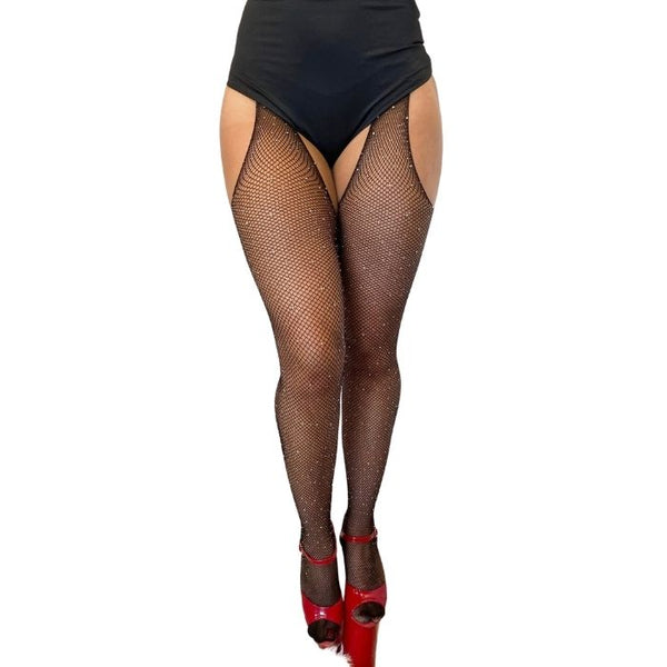 Fishnet Garter Diamonte Stocking in Black