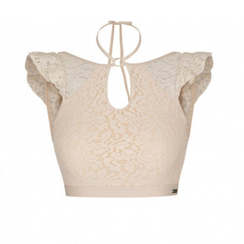 Feminine Lace Polkini Top - Beige