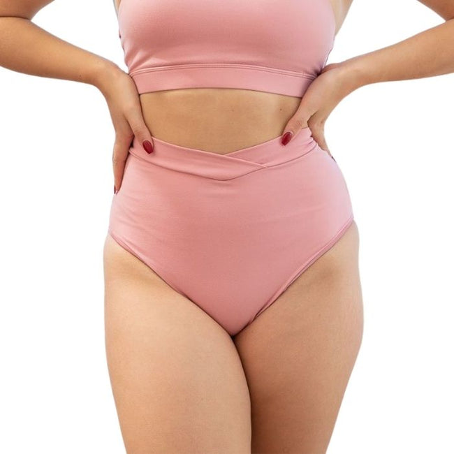 High Waist V Basic Recycled Shorts in Baby Pink