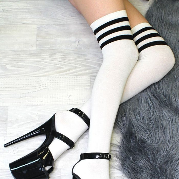 White Thigh High Socks with Black Stripes