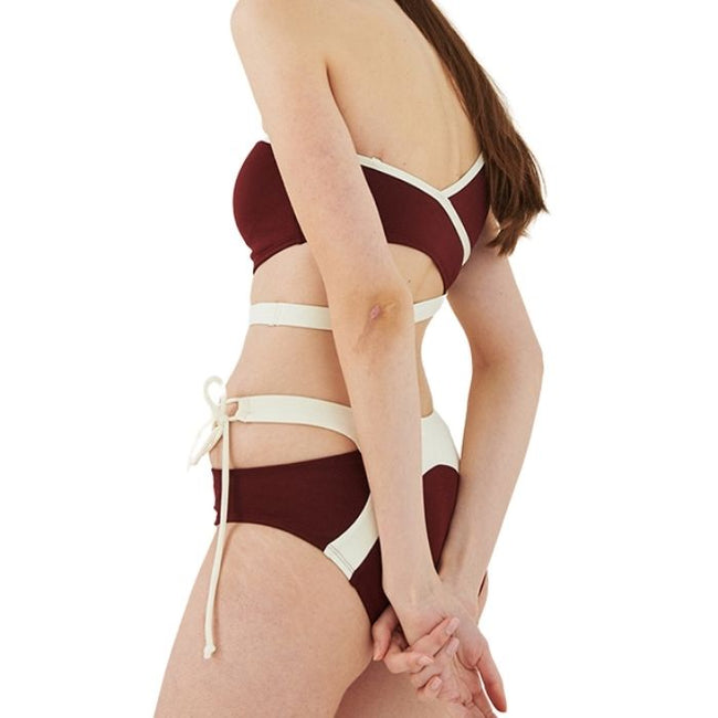 Spring One Shoulder Set in Wine and Cream