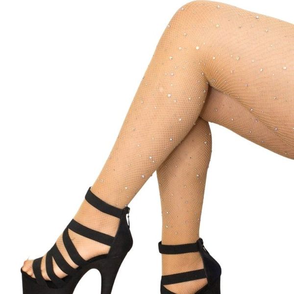 Fishnet AB Shine Diamonte Stockings in Tan Nude