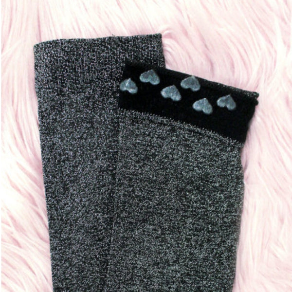 Silver Lurex Thigh High Socks