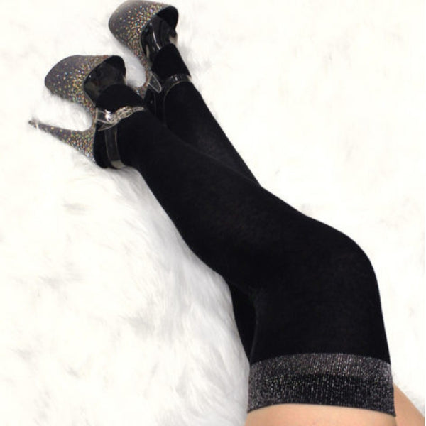 Glimmer Band Thigh High Socks