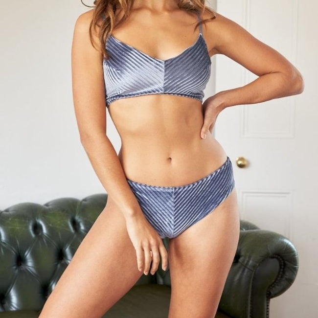 Lana Low Waist Shorts in Silver Blue