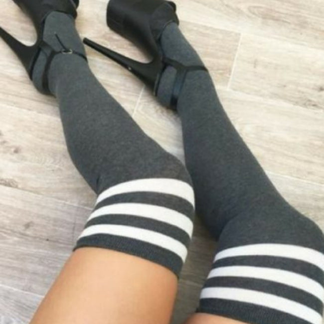 Charcoal Thigh High Socks with White Stripes