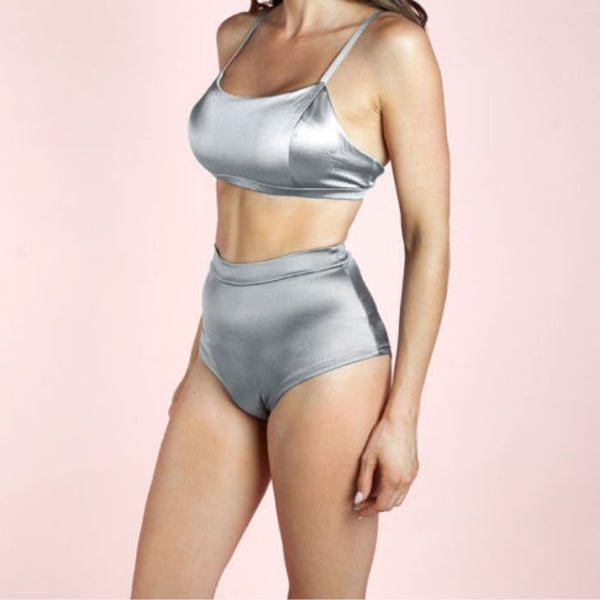 High Waist Basic Shorts - Silver