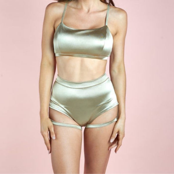 Lure You High Waist Garter Shorts - Gold