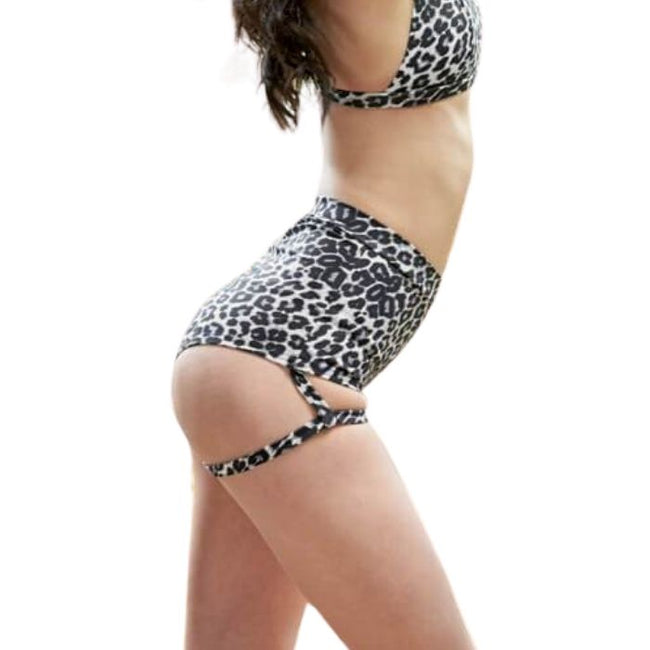 Lure You High Waisted Garter Shorts in Grey Leopard