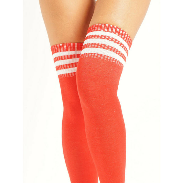 Over Knee Socks - Red/White