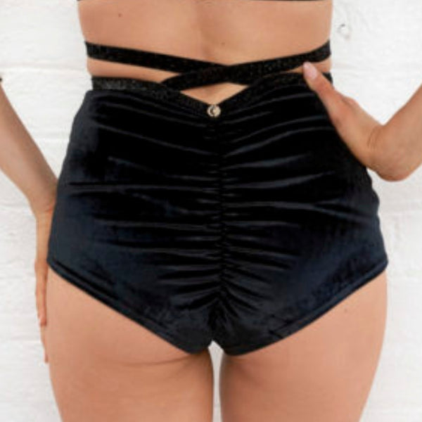 Sienna High Waist Shorts - Black