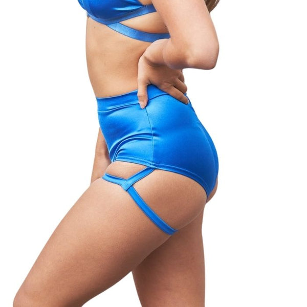 Lure You High Waist Garter Shorts in Electric Blue