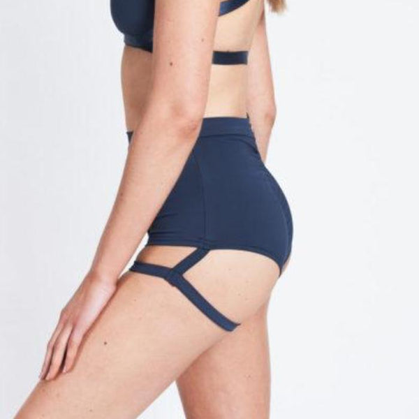 Lure You High Waisted Garter Shorts - Navy
