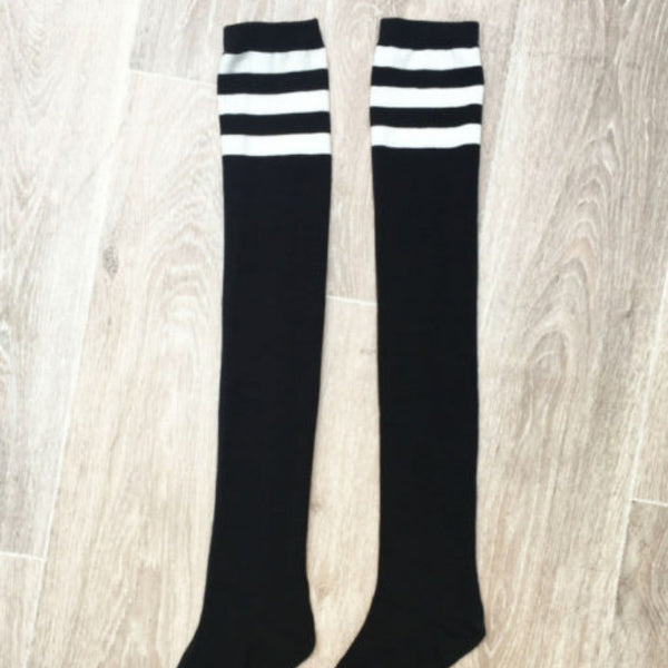 Black Thigh High Socks with White Stripes