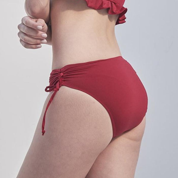 Lace Up Polkini Bottom - Red
