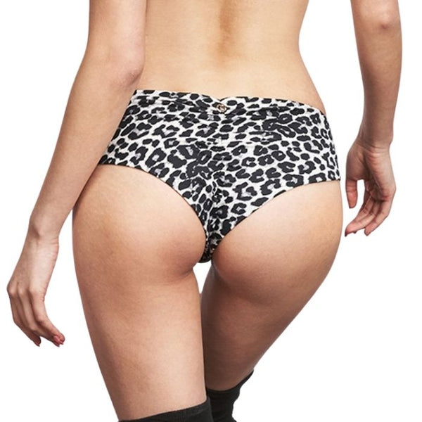 Zeta Grey Leopard Low Waist Shorts