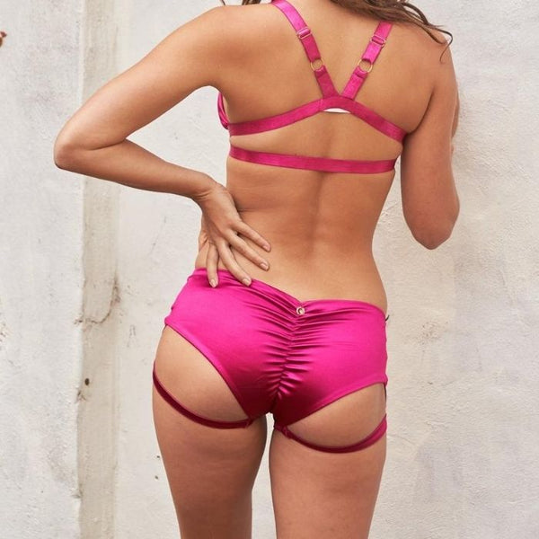 Lure You Low Waist Garter Shorts in Satin Magenta