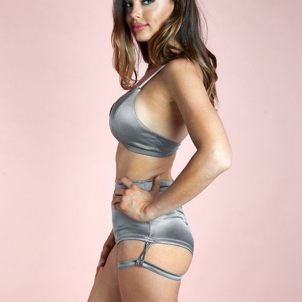 Lure You High Waist Garter Shorts - Silver