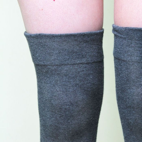 Charcoal Thigh High Socks