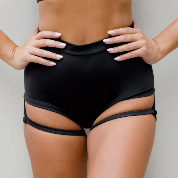 Lure You High Waisted Garter Shorts