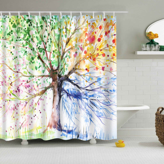 Colorful Modern Fabric Shower Curtain Safe Blended Polyester Cotton