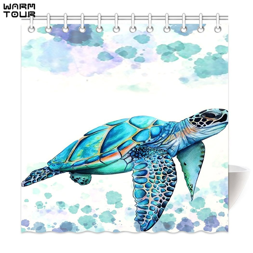 Sea Turtle Themed Shower Curtain Polyester Fabric Waterproof Bathroom Curtains