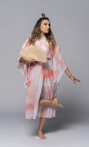 Mbeya Loungewear Sheer with Gold threads - OhKimono
