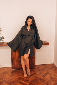 Linen in Light Dark Green SS20 FOR HER - OhKimono