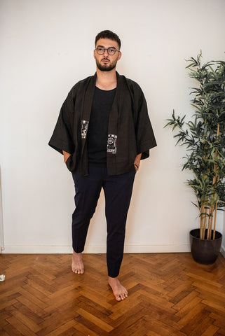 Black Linen Jacket - Linen in Light SS20 for HIM - OhKimono