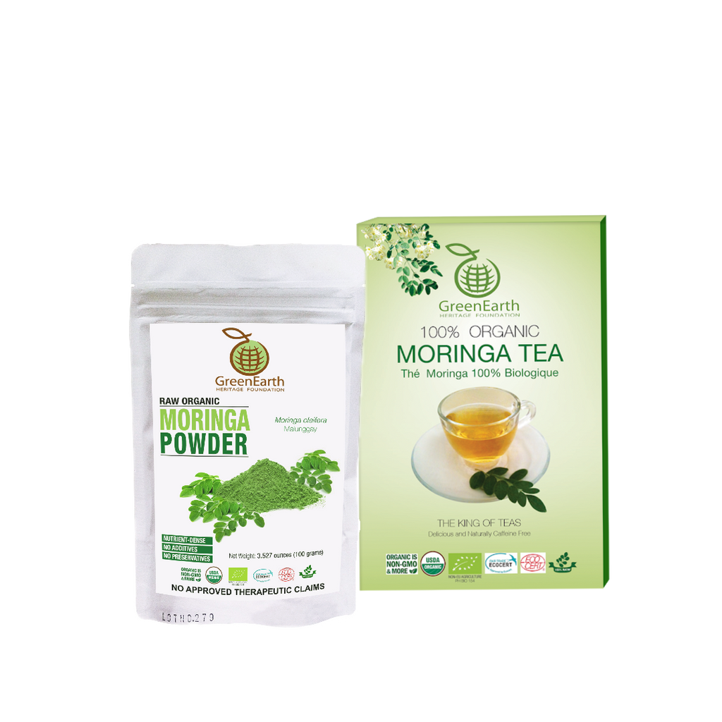 Boxed Loose Leaf Moringa Tea 100 g in Classic Box  paired with Moringa Powder 100 g in White Pouch by GreenEarth