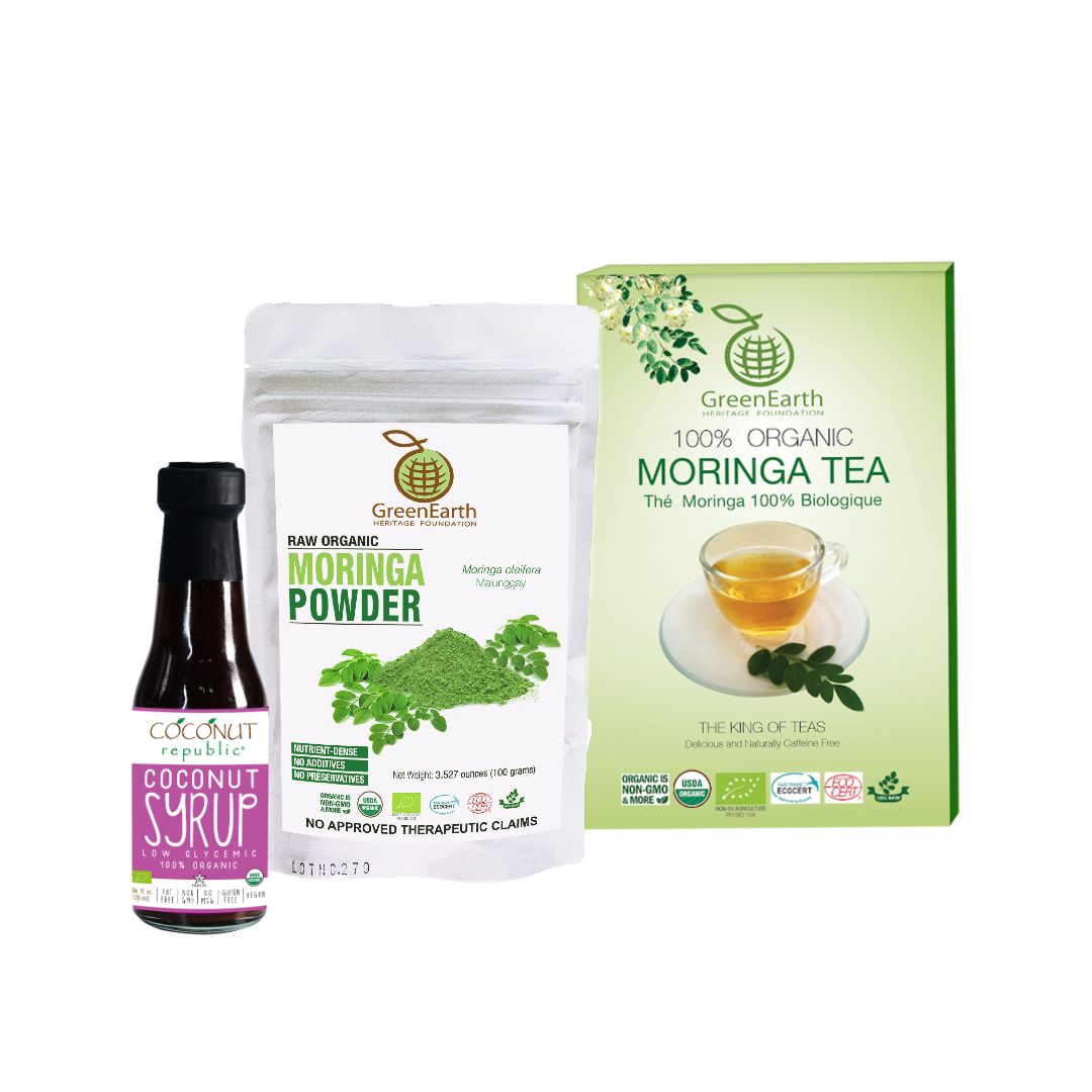 Triple Treat Energizer Combo12 (Set of 3) has Certified 100% Organic GreenEarth  Moringa Loose Leaf Tea 100 g, Moringa Powder 100 g, and Coconut Republic Coconut Syrup 120 ml. Made in the Philippines.