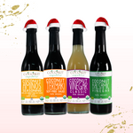 The Coconut Republic® Holiday Saucy set of 4 has 100% Certified Organic soy-free Coconut Aminos Seasoning 375 ml, Coconut Teriyaki Sauce 375 ml, Coconut Vinegar 375 ml, and Coconut Balsamic Vinegar 375 ml. Made in the Philippines.