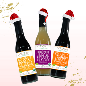 The Coconut Republic® Holiday Saucy set of 4 has 100% Certified Organic soy-free Coconut Aminos Seasoning 375 ml, Coconut Teriyaki Sauce 375 ml, Coconut Vinegar 375 ml. Made in the Philippines.