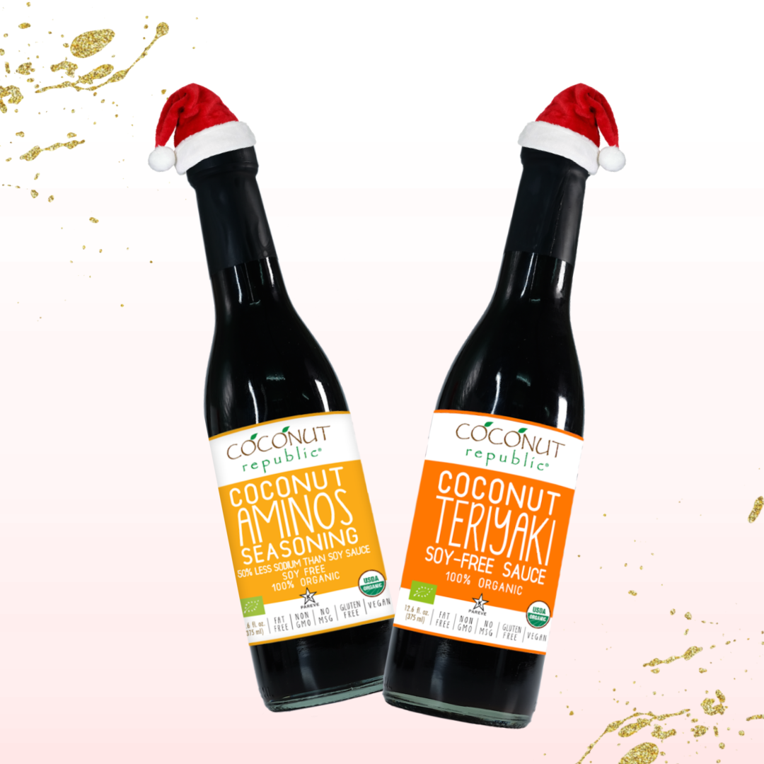 The Coconut Republic® Holiday Saucy set of 4 has 100% Certified Organic soy-free Coconut Aminos Seasoning 375 ml, Coconut Teriyaki Sauce 375 ml. Made in the Philippines.